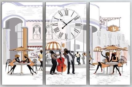 Настенные часы на холсте Кафе 90х60