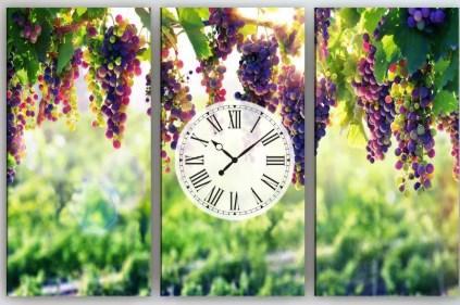 Настенные часы на холсте Виноград 90х60