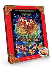 Картина мозаика Paillette Попугаи в декорированной рамочке Пм-01-17
