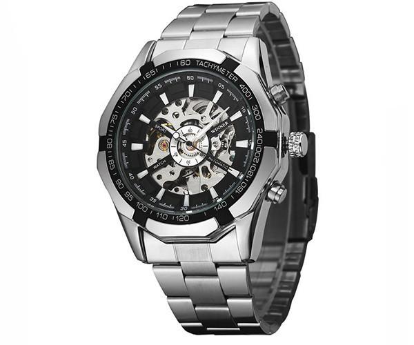 Winner timi серебристые с черным циферблатом мужские механические часы скелетон на браслете