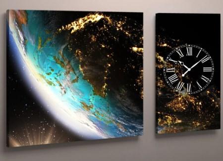 Настенные часы с картиной 100х60 Земля