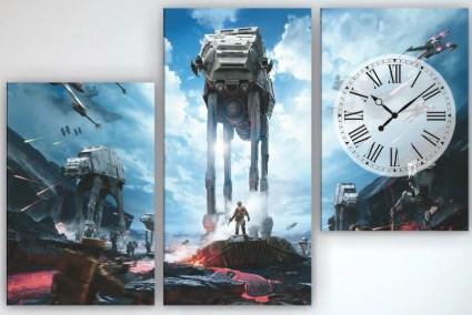 Картина модульная с часами 90х60 Звездные войны