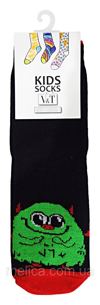 Носки детские Kids Socks V&T classic ШДКг 024-0439 Зеленый монстр р.14-16 Черный/красный