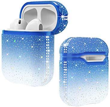 Силиконовый противоударный чехол - Airpods Apple. Градиент голубой