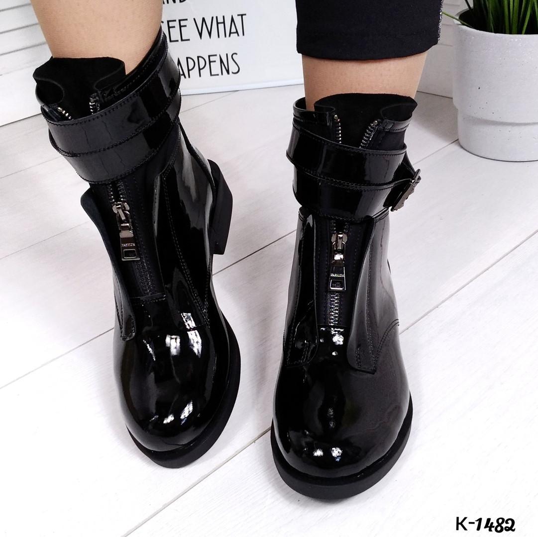 Женские зимние ботинки в черном цвете, натуральная лаковая кожа+стрейч(в наличии и под заказ 7-16 дн