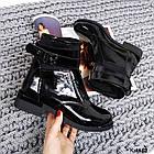 Женские зимние ботинки в черном цвете, натуральная лаковая кожа+стрейч(в наличии и под заказ 7-16 дн, фото 3