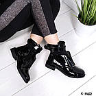 Женские зимние ботинки в черном цвете, натуральная лаковая кожа+стрейч(в наличии и под заказ 7-16 дн, фото 5