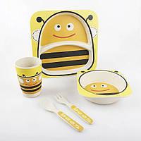 Набор детской посуды из бамбукового волокна Пчелка, 5 предметов