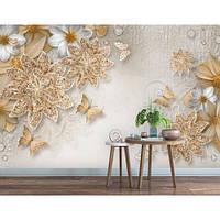 Фотообои 3D Бабочки и цветы