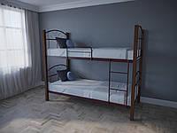 Кровать двухъярусная металлическая Лара Люкс Вуд подростковая детская с деревом