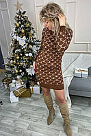 Облегающее платье футляр из трикотажного полотна с объемной вязкой сердечки.Разные цвета, фото 1