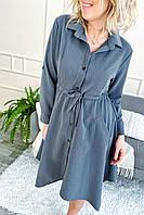 Платье рубашка с ассиметричным низом и завязкой на талии.Разные цвета, фото 1