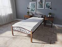 Кровать односпальная из металла и дерева Элис Люкс Вуд Melbi. Ліжко односпальне металеве