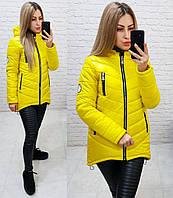 Женская куртка-парка, арт 300, цвет лимонный жёлтый