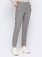 Классические брюки серые в клетку прямого кроя 44 46 48