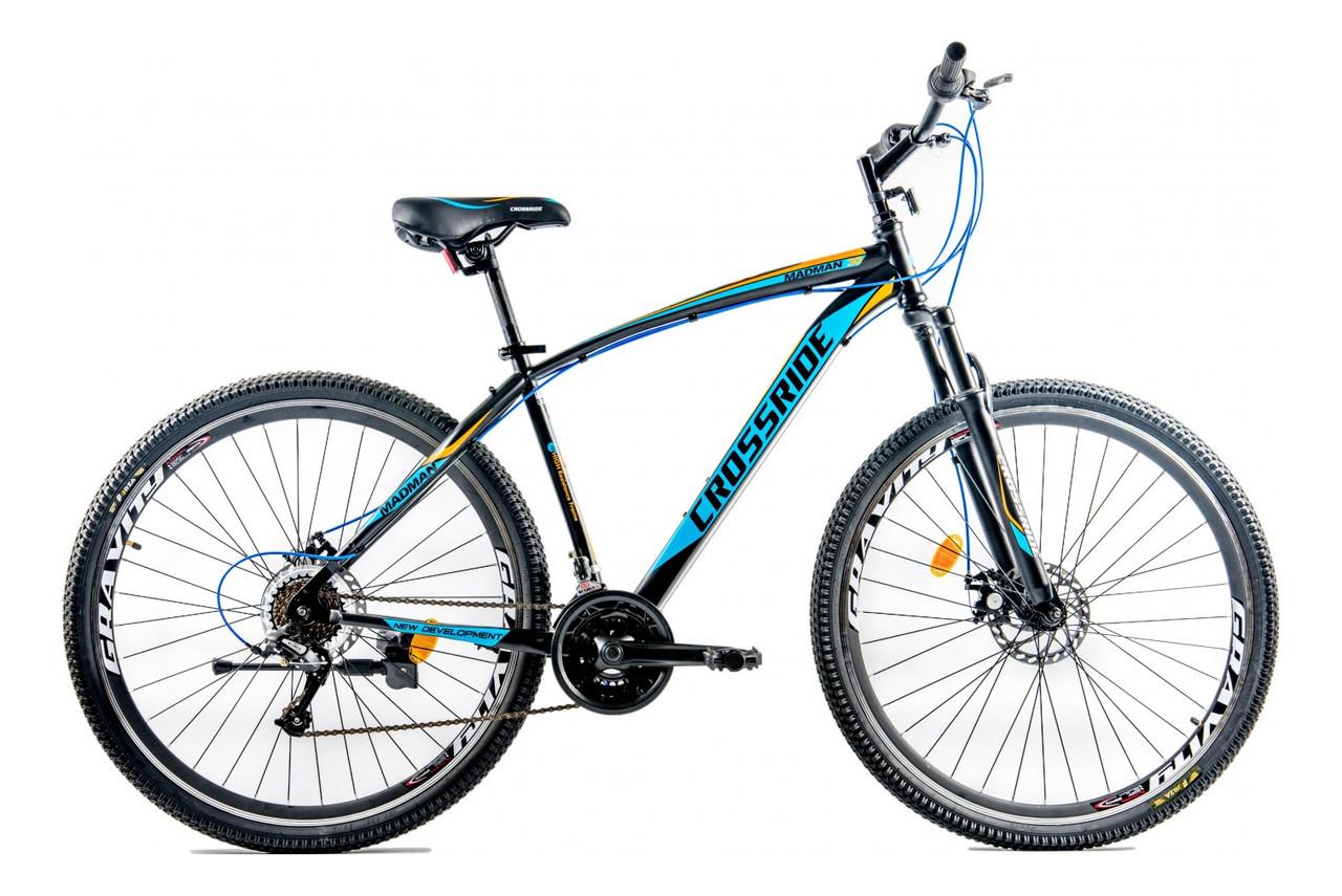 """Велосипед гірський CROSSRIDE MAD MAN 29"""" колесо 21"""" рама Чорний/Синій"""