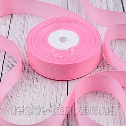 Лента репсовая шириной 25 мм розового цвета (тёплого оттенка), бобина 23 м
