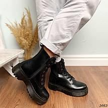 Ботинки женские на флисе черные  высокие деми11\3663, фото 3