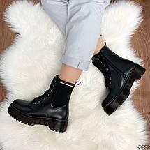 Ботинки женские на флисе черные  высокие деми11\3663, фото 2