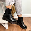 Ботинки женские на флисе черные  высокие деми11\3663, фото 4