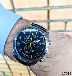 Часы мужские в стиле Tissot. Мужские наручные часы цвета серебро. Часы с черным циферблатом Годинник чоловічий