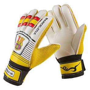 Перчатки футбольные вратарские детские (юниорские) barcelona, 6 (17 см)