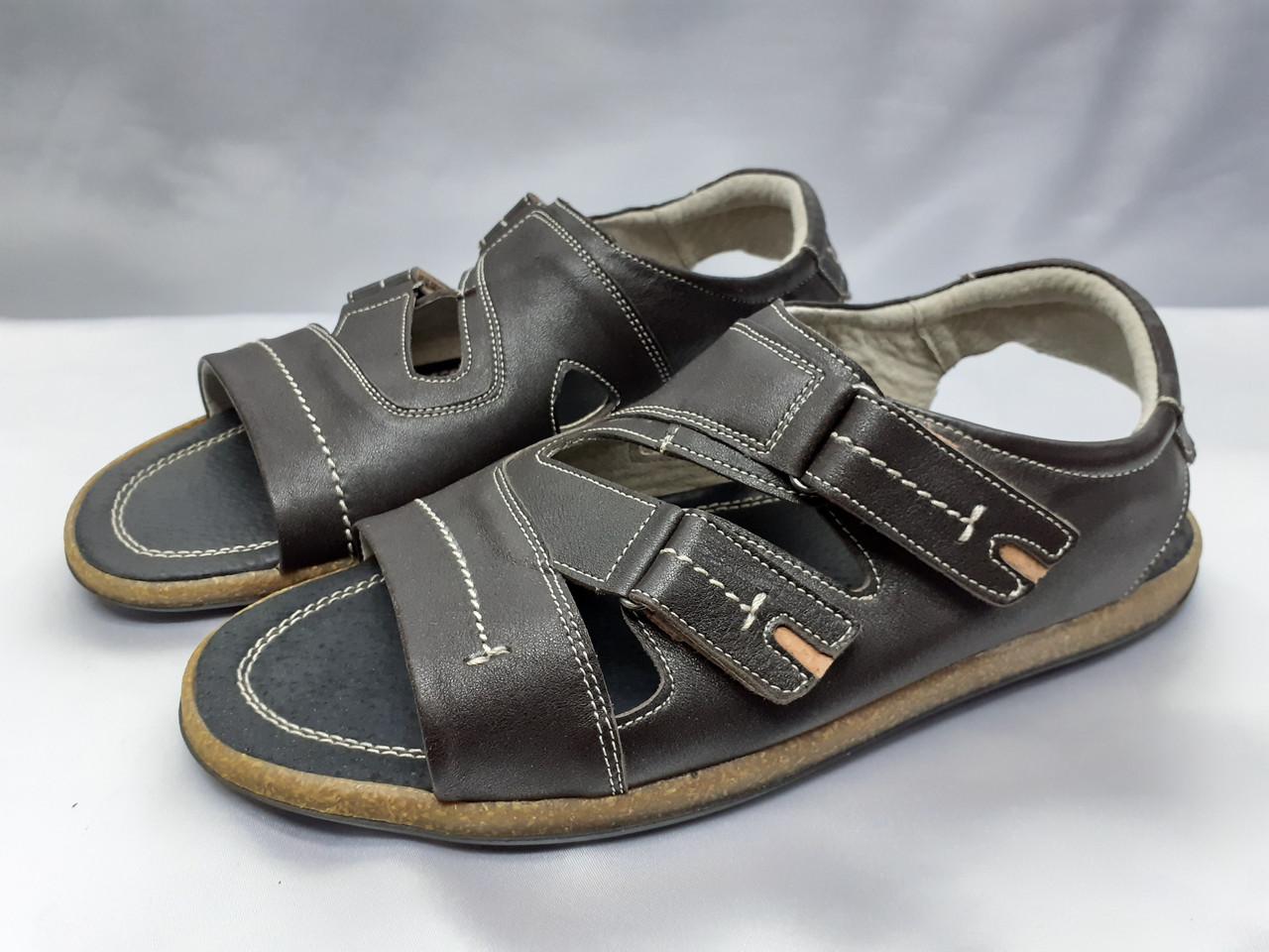 Мужские коричневые кожаные сандалии Rondo