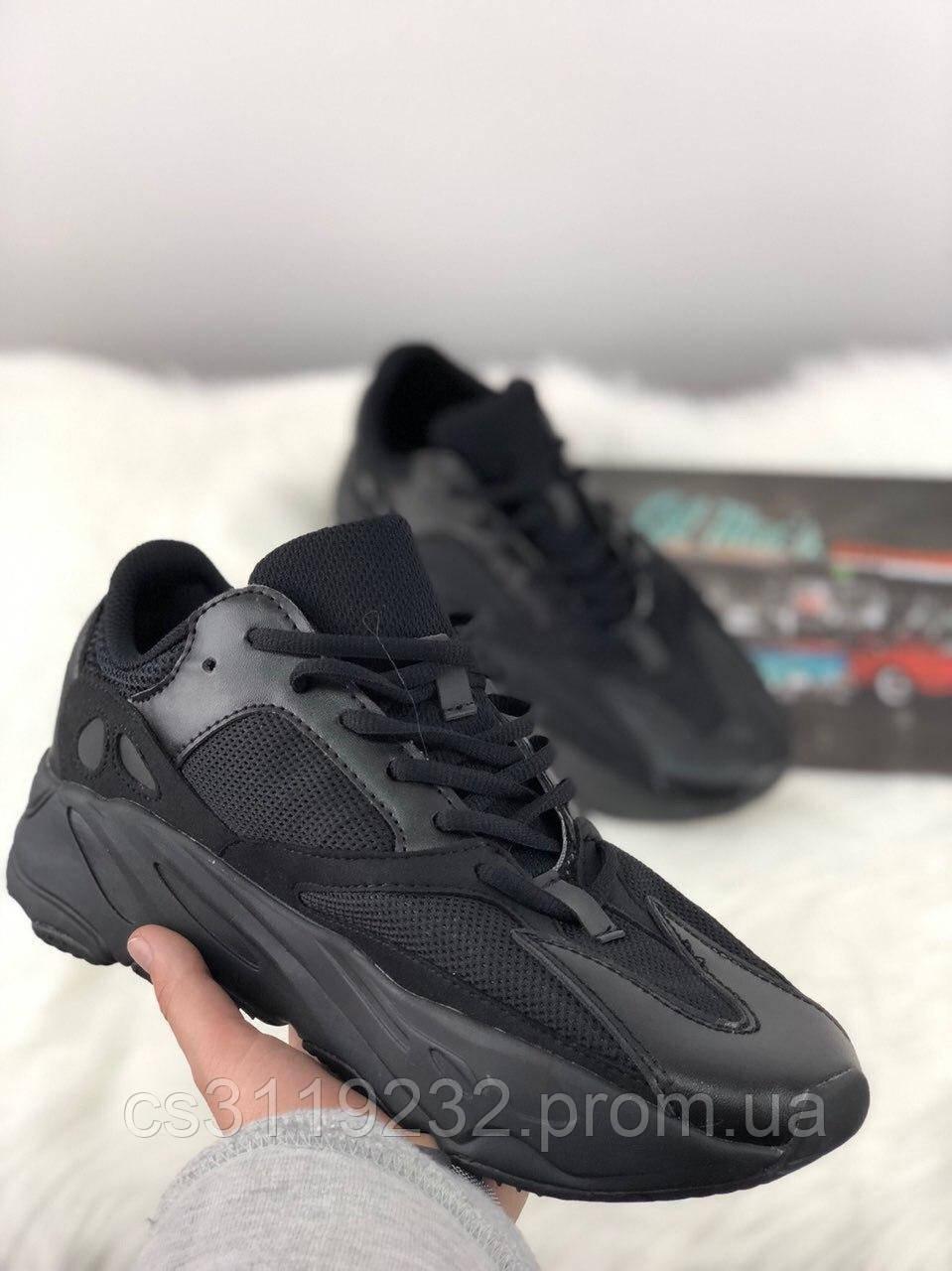 Мужские кроссовки Adidas Yeezy Boost Wave Runner 700 Black (черные)