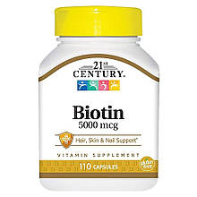 Биотин 5000 мкг, 120 таблеток, 21st Century. Сделано в США.