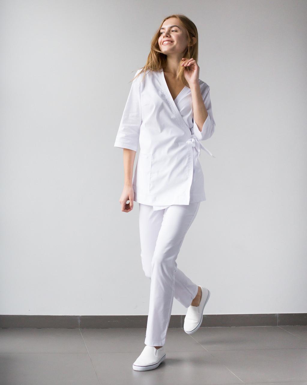 Медичний жіночий костюм білий Шанхай