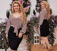 Красивое приталенное платье по колено размеры 48-62 арт 3157