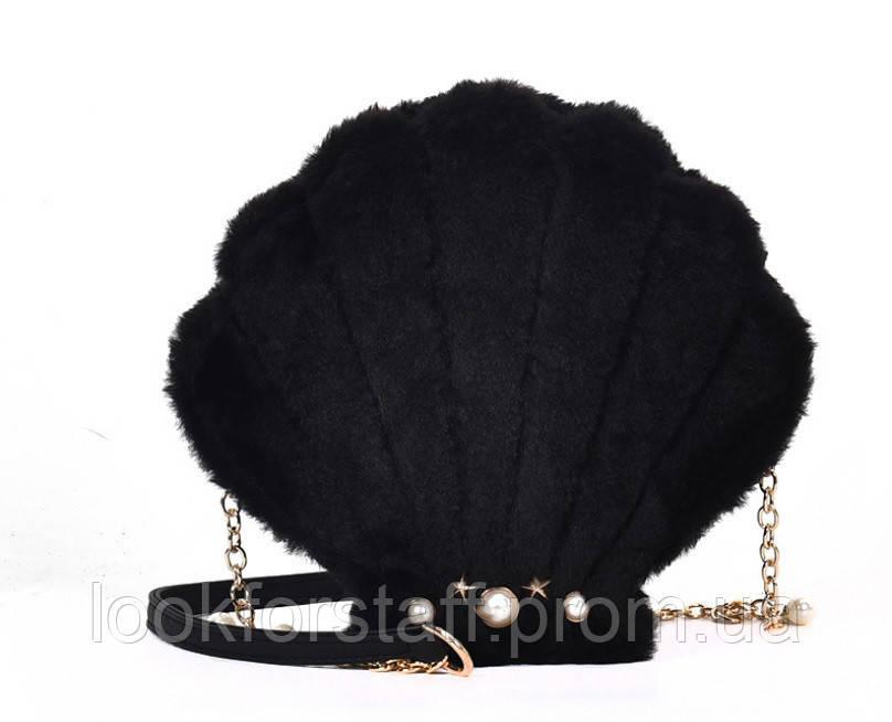 Черная сумочка Ракушка