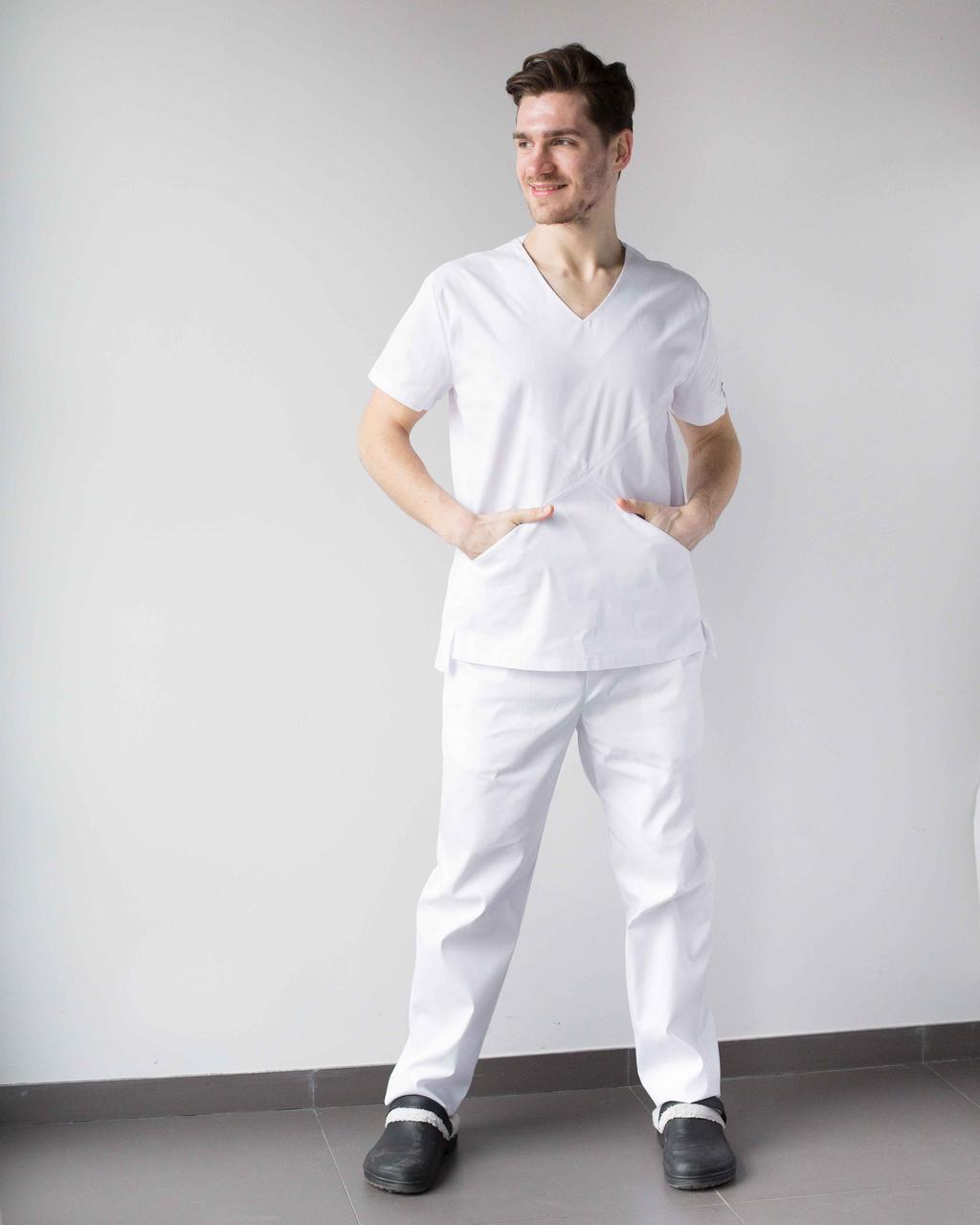 Медичний чоловічий костюм Мілан білий