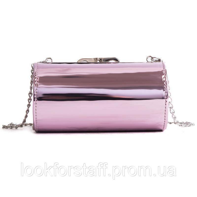 Товар с дефектом, Розовая лаковая сумка кроссбоди