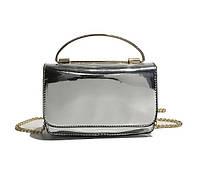 Элегантная серебристая лаковая сумка , фото 1