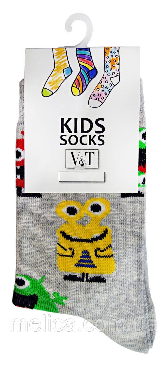 Носки детские Kids Socks V&T classic ШДКг 024-0444 Академия монстров р.14-16 Светло-серый меланж