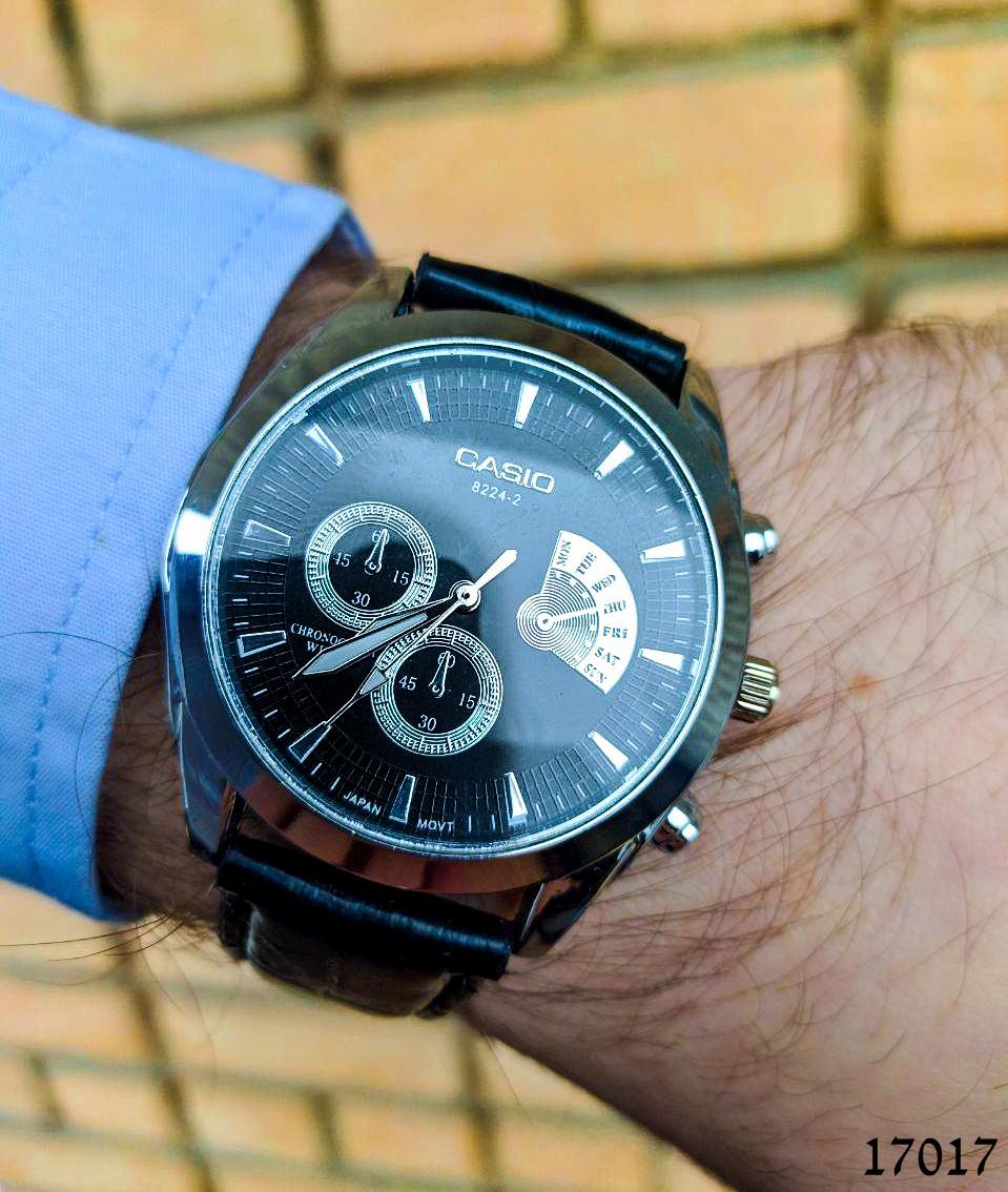 Годинники чоловічі в стилі Casio. Чоловічі наручні годинники кольору срібло. Годинник з чорним циферблатом Годинник чоловічий