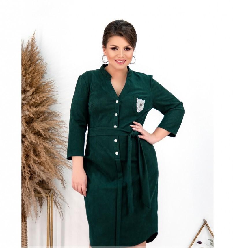 Платье женское большого размера цвет-темно-зеленый