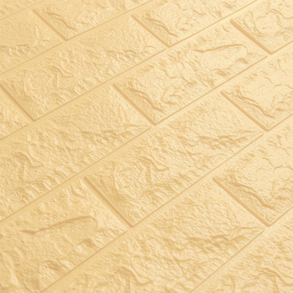 3д панель стеновой декоративный Бежевый Кирпич (самоклеющиеся 3d панели для стен оригинал) 700x770x5 мм