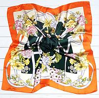 Шелковый платок Вероника, 90*90 см, зеленый