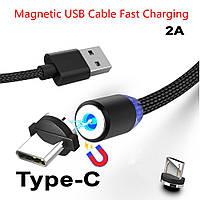 Магнитный кабель для зарядки в нейлоновой оплетке 2А 1м  Type-C M3 360