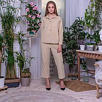 Женский вельветовый костюм: кюлоты и рубашка бежевого цвета (3204) oversize