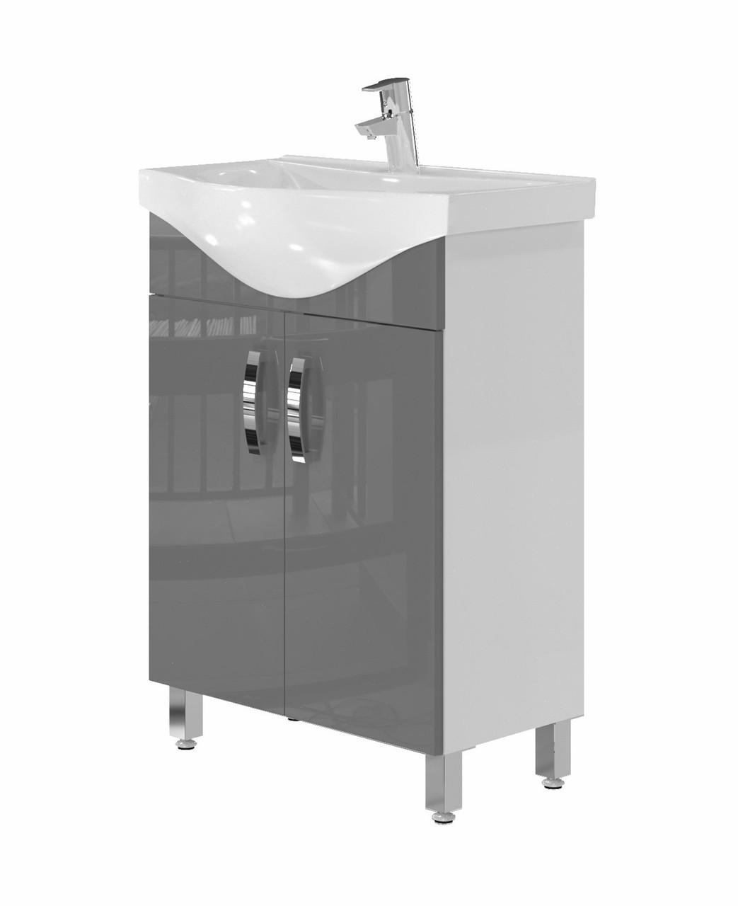 Тумба для ванной Juventa Trento Trn-60 с умывальником Vittoria-60 серая