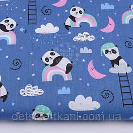 """Ткань хлопковая """"Спящие панды на радуге"""" на синем фоне №2591"""