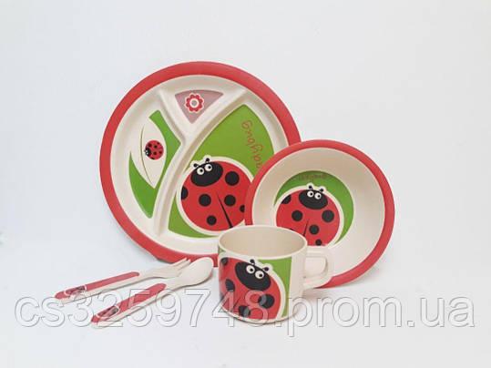 Набор детской эко посуды из бамбукового волокна 5 предметов Божья коровка, фото 2