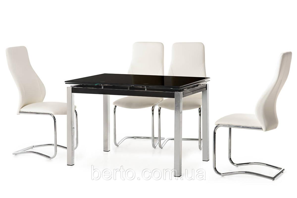 Стеклянный раскладной стол черного цвета 110-160*74 см.