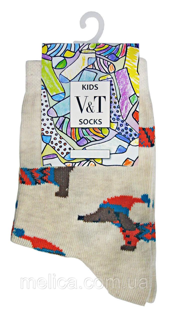 Носки детские Kids Socks V&T classic ШДКг 024-0467 Таксы р.22-24 Светло-молочный меланж