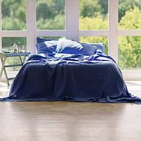Льняное постельное бельё синего цвета Семейный