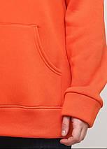 Худі жіночий теплий, колір морквяний подовжений Oversize 02, фото 3