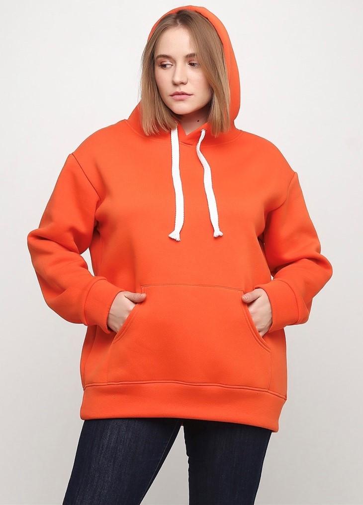 Худи женский тёплый, цвет морковный удлиненный Oversize 02